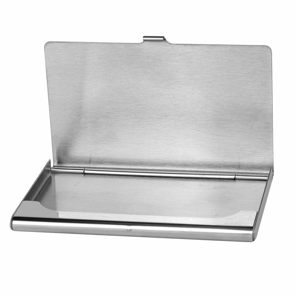 Pocket Stainless Steel Metal Business Holder Case ID Wallet Silver
