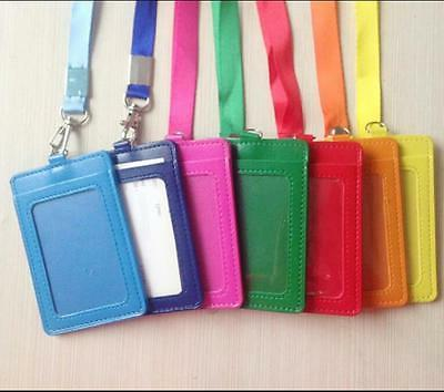 PU Leather Id Holders Case Business Badge Card Holder with N