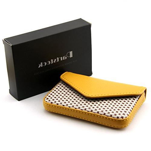 Partstock Multipurpose PU Leather Business Name Card ID Case/Holder/Cards Case with Magnetic Gift - Yellow