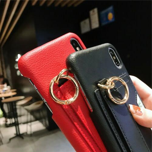 PU Leather Card Holder For iPhone Max XR X 7 6 Plus