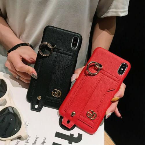 PU Leather Wrist Card Holder Cover For XS XR X 8 6 Plus