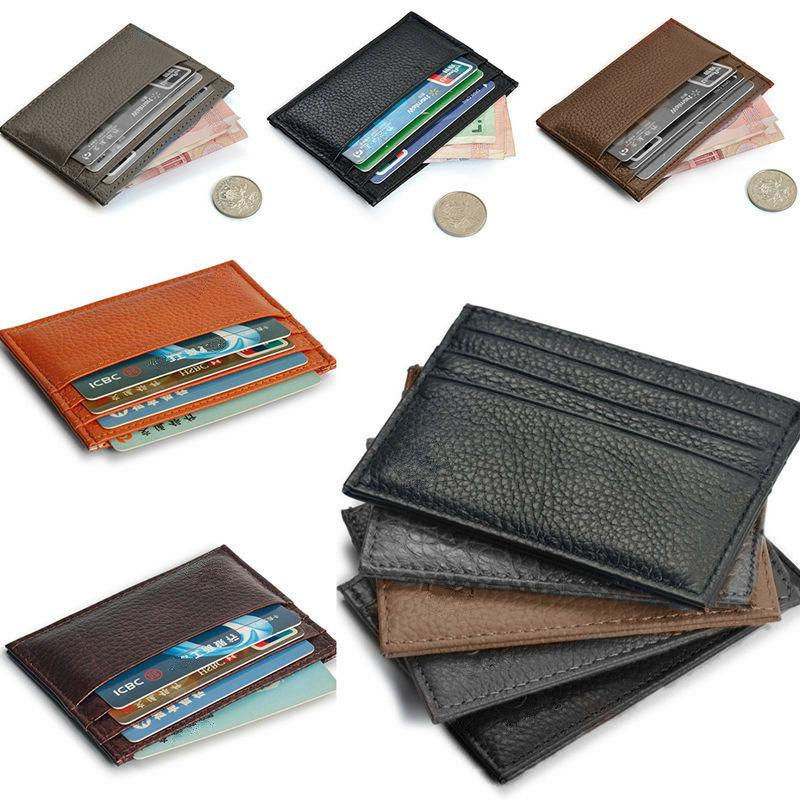 Real Leather Small Card Wallet Case