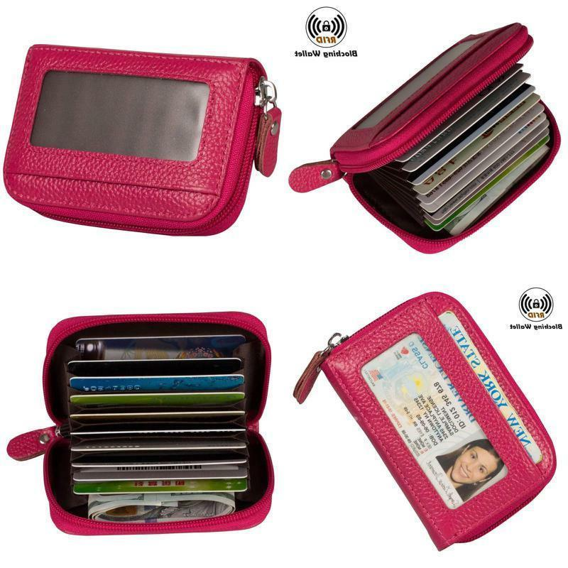 Noedy Rfid Blocking Credit Card Holder Compact Wallet Genuin