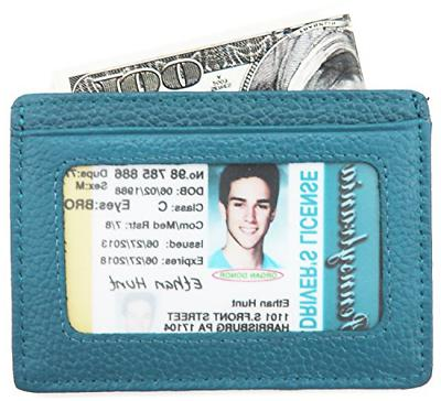 DEEZOMO Leather Card Holder Front ID