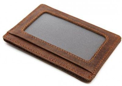 DEEZOMO Leather Card Holder Front Wallet