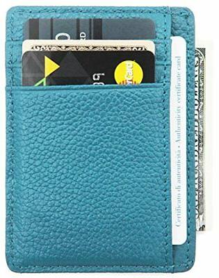 DEEZOMO Leather Credit Card Front Pocket Wallet ID