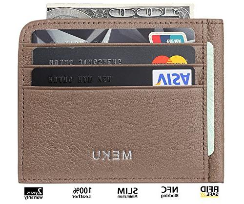 MEKU Leather Credit Unisex Slim Case with Cash Clip