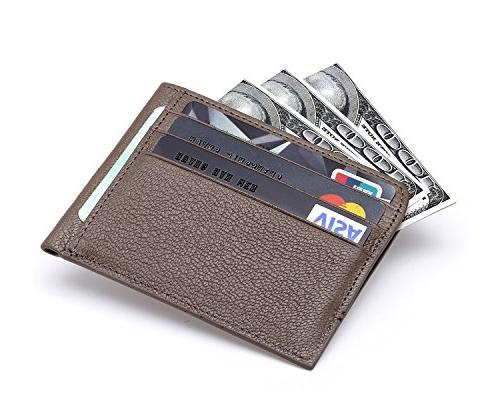 MEKU Blocking Slim Leather Credit Card Holder Unisex Slim Business Case Wallet with Cash