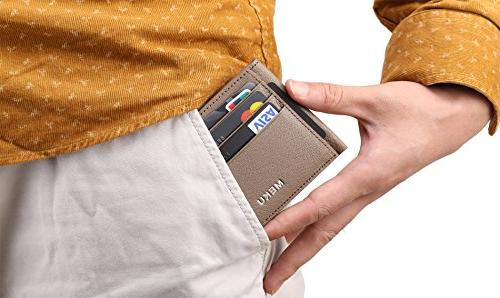 MEKU RFID Slim Leather Holder Unisex Slim Card Case Wallet with Cash Clip