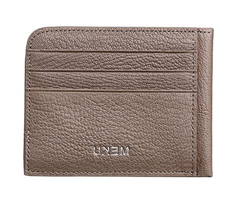 MEKU Blocking Slim Leather Card Holder Unisex Business Case Minimalist with Cash Clip Khaki
