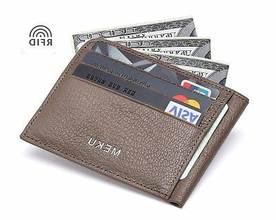 rfid blocking slim leather credit card holder