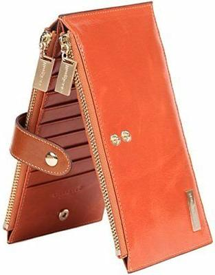 Borgasets RFID Blocking Women's Genuine Leather Wallet Credi