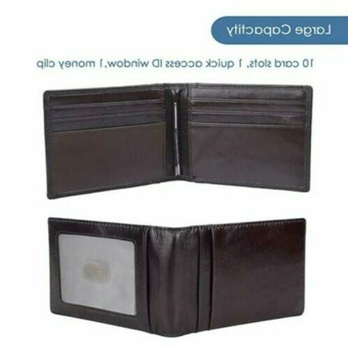RFID Men's Leather Bifold Money Front Pocket Holder