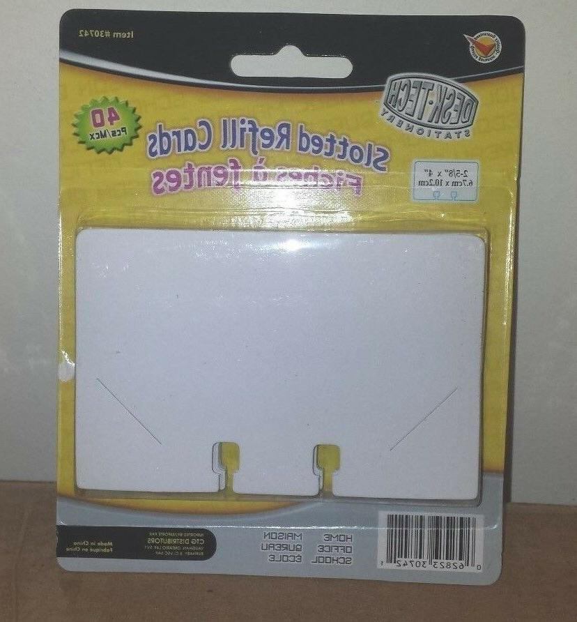 """Rotary File Refill Cards 2 5/8"""" x 4"""" Pack of 40  cards fits"""