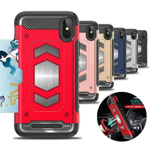 rugged hybrid magnetic shockproof card holder case