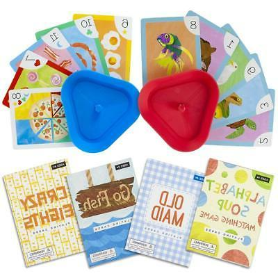 Set of 4 Classic Children's Card Games with 2 Hands-Free Pla