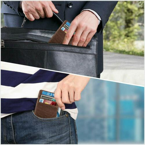 Mens Blocking Leather Credit Card Coin Holder