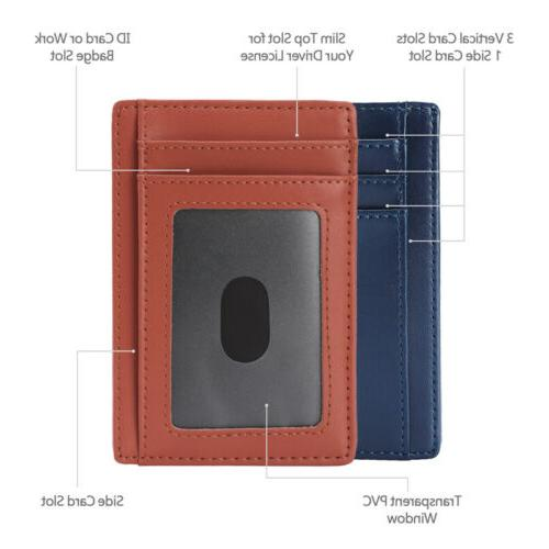 New Genuine Leather Slim Card Men - Minimalist RFID Blocking