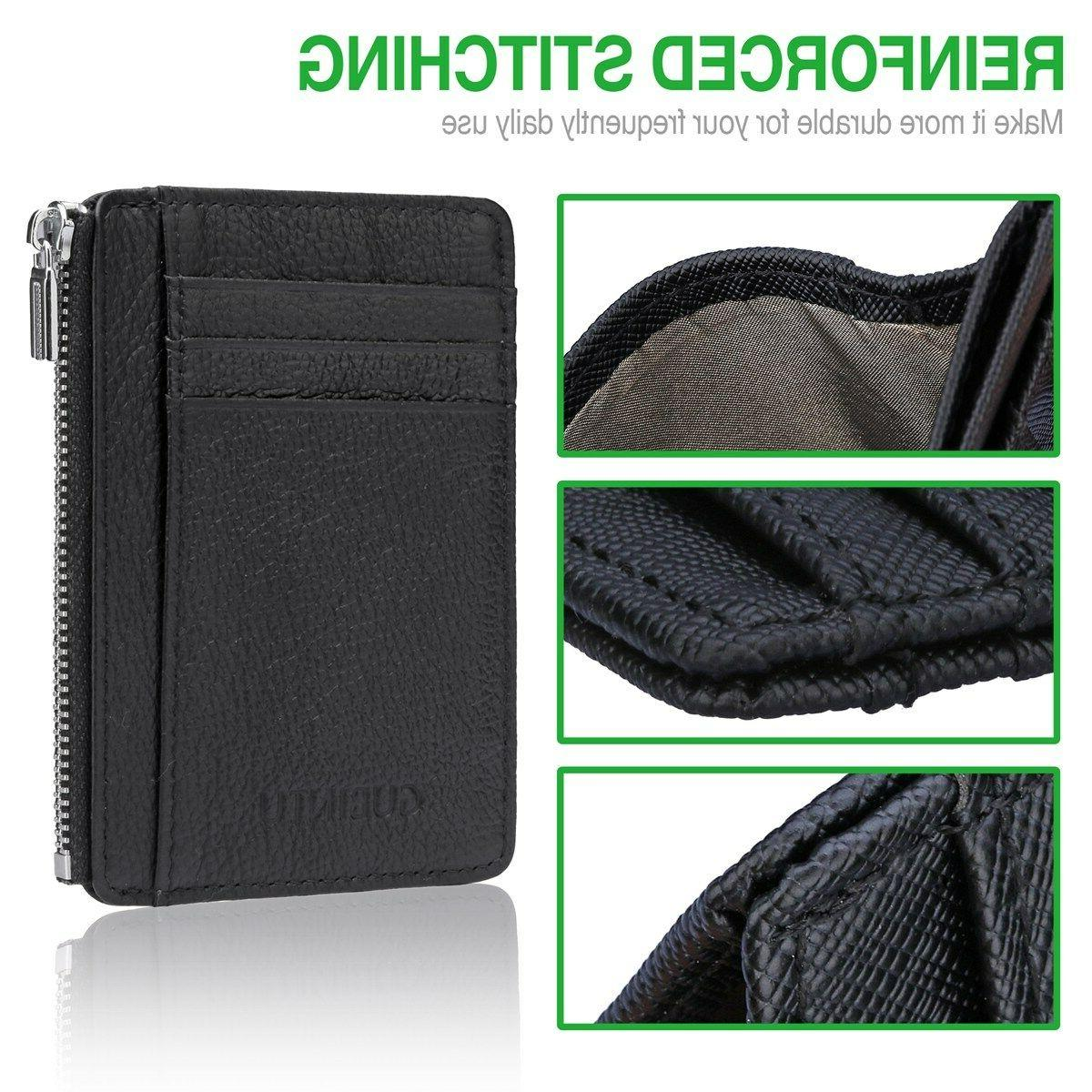 Slim Zipper Leather Wallet Money Credit Card Pocket