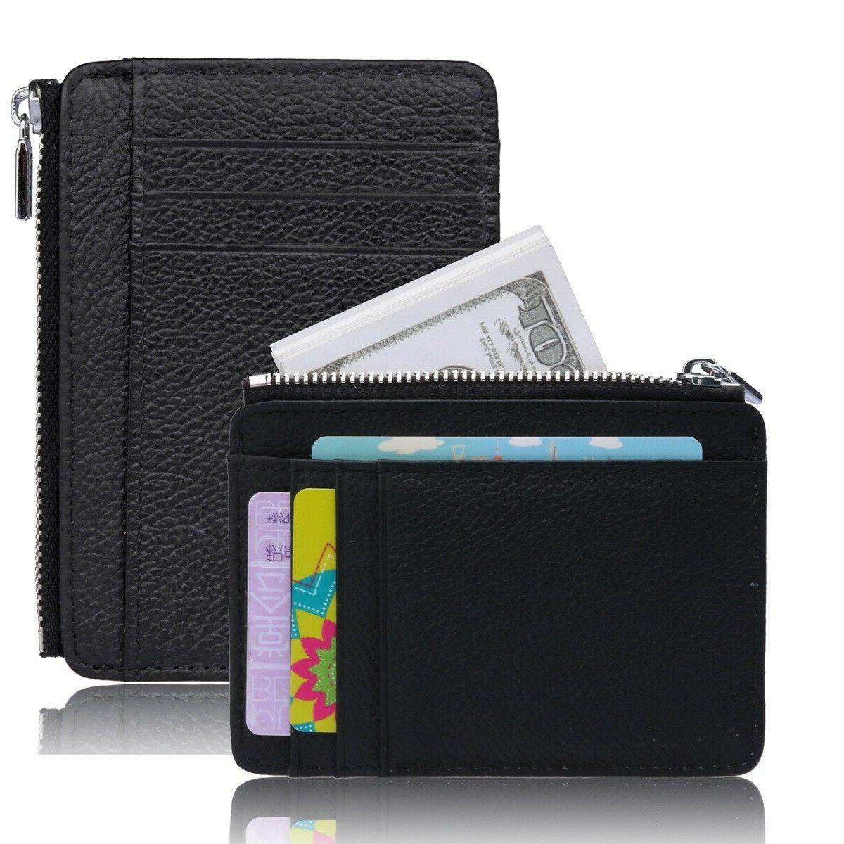 slim thin zipper leather wallet money clip