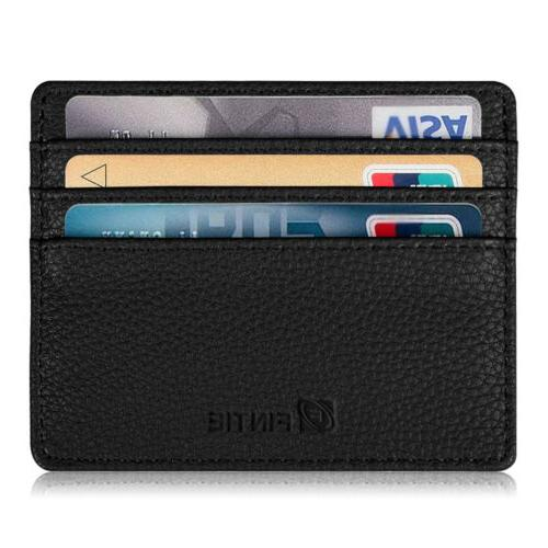 Slim Wallet Leather Card Holder For Men - Minimalist Blocking