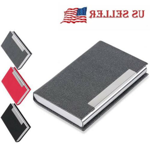 stainless steel slim pocket leather business card