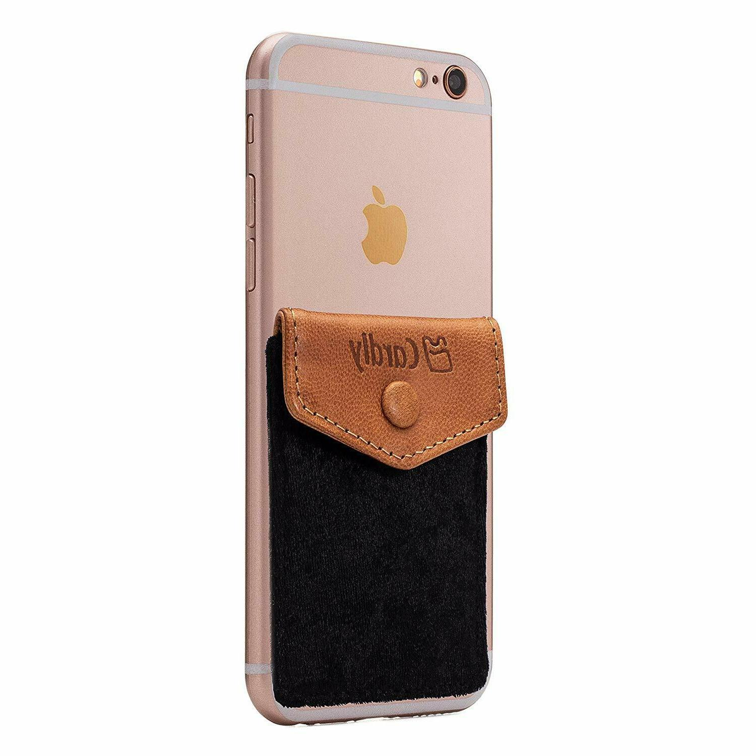 Stick On Wallet Cell Phone Card Holder iPhone Android Sleeve
