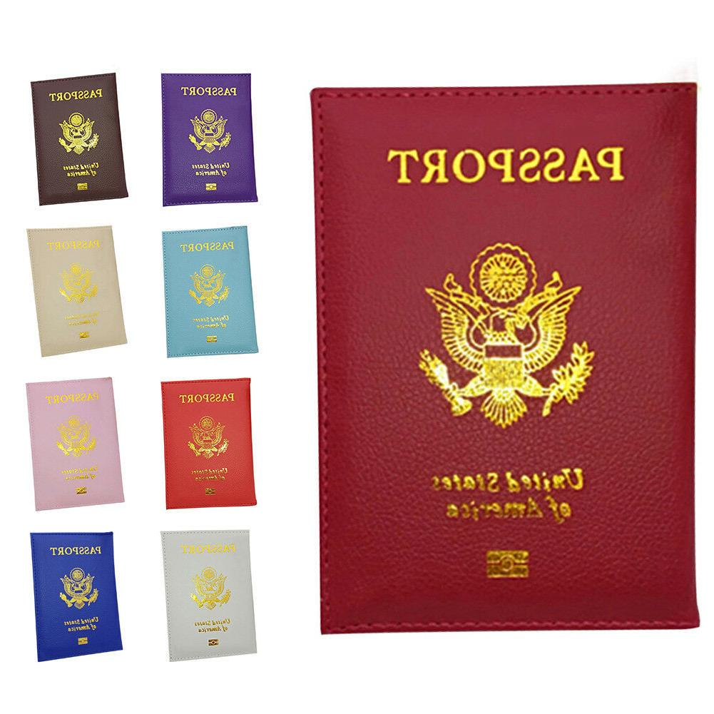 Faux Leather Travel USA Passport Case ID Card Holder Cover O