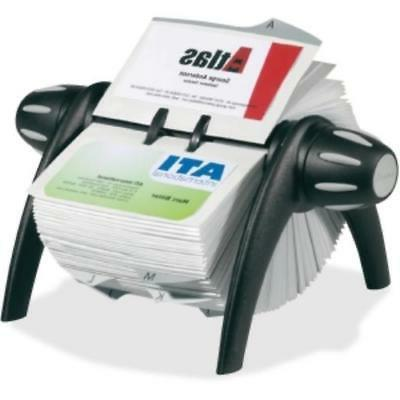 Visifix Flip Rotary Business Card File - 200 Card - 25 Print