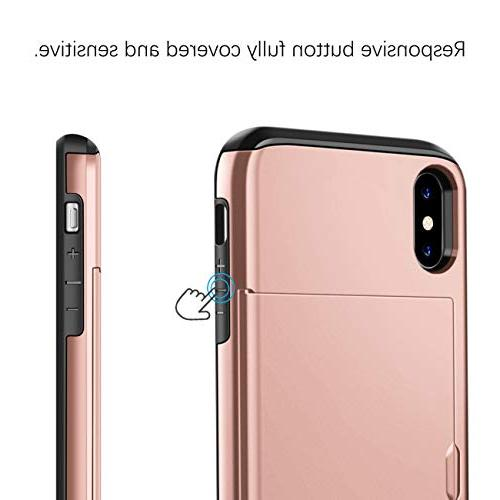 SAMONPOW Wallet Case for iPhone Xs Protection iPhone Xs Max Case Card Shockproof Soft Rubber Xs 6.5''- Rose Gold