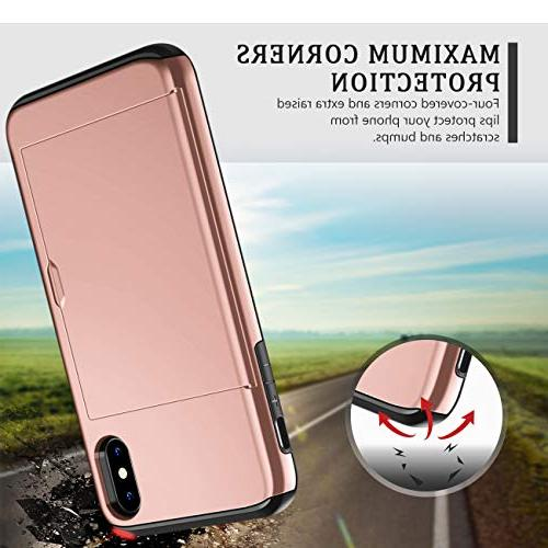 SAMONPOW for iPhone Xs Duty Protection Case Card Holder Shockproof PC Soft Rubber Inner Cover for Gold