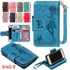Woman&cat Leather 9 Card cash Cover Flip Holder Case Wallet