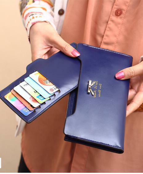 Women Cute Bow Long Leather Thin Multi Credit Holder Gift
