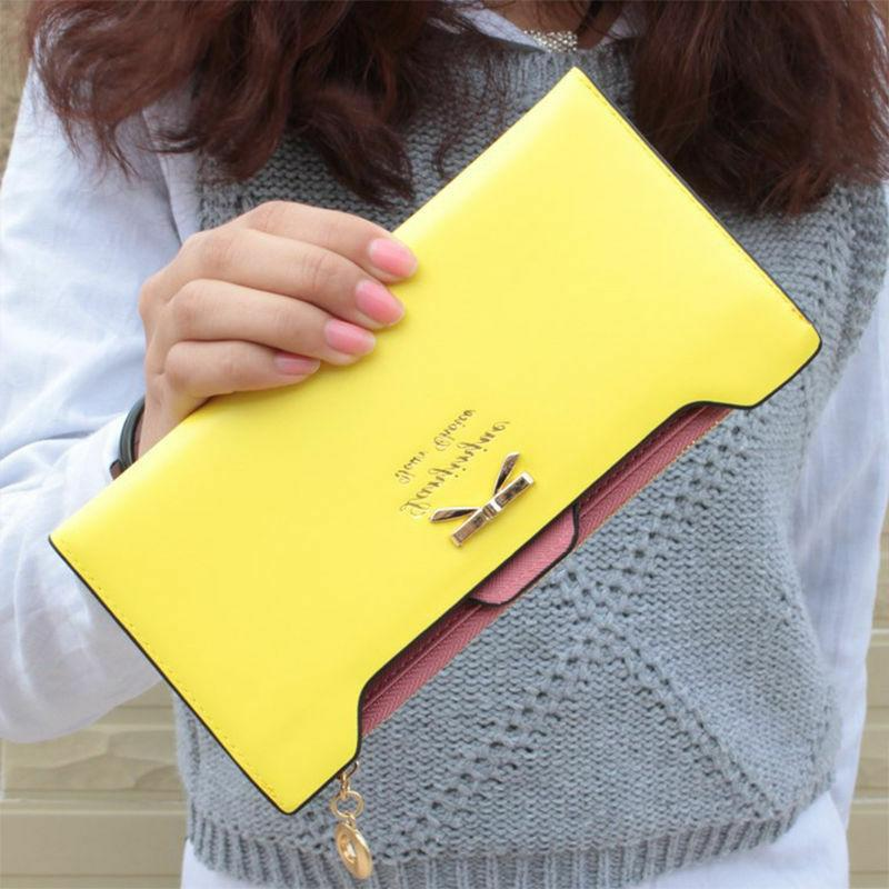 Women Bow Leather Multi ID Credit Holder Gift