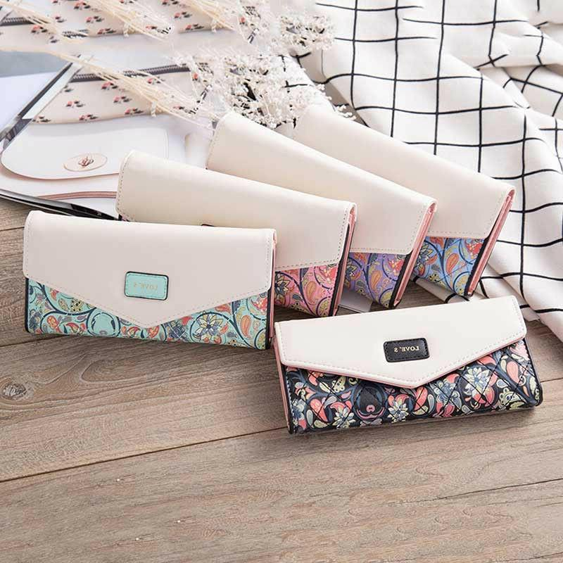Women Lady PU Leather Clutch Wallet Card Holder Purse Long H