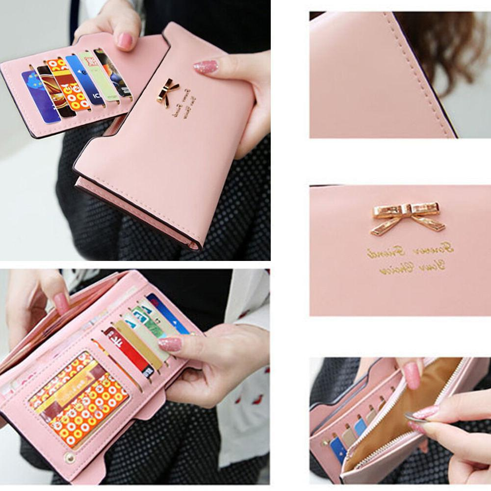Women Bow Leather Wallet Purse Multi Card Holder Gift
