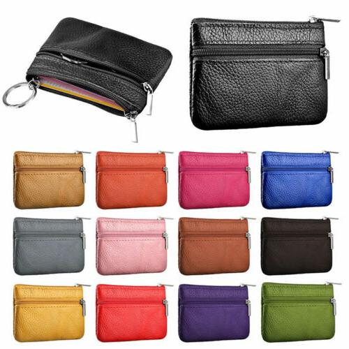 Womens Leather Coin Case ID Credit Card Holder Zipper Wallet