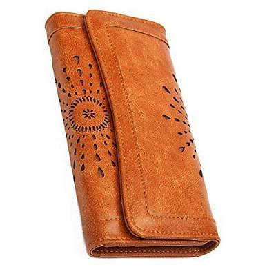 women s lady leather wallet purse credit