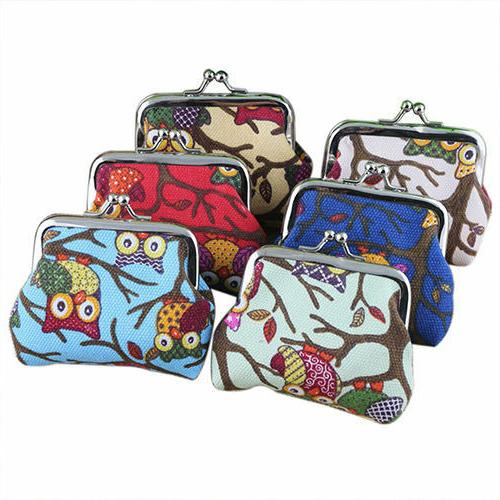 Women Vintage Hand-Hold Dotted Coin Card Holder Wallet Portable Purse