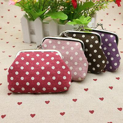 Women Vintage Dotted Coin Card Wallet Portable