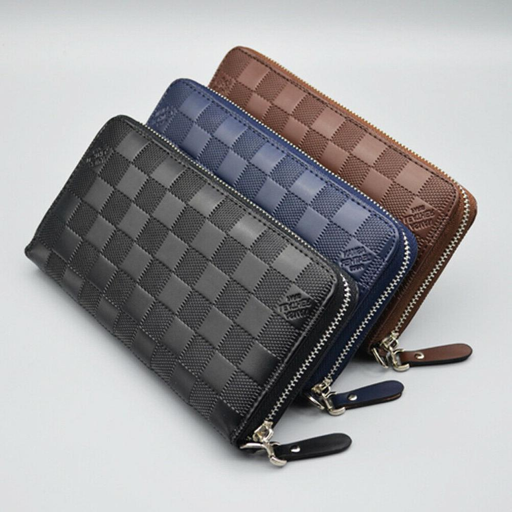 womens long leather wallet card coin holder