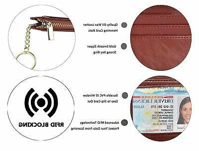 Womens RFID Card Holder Front Pocket Coin Keychain