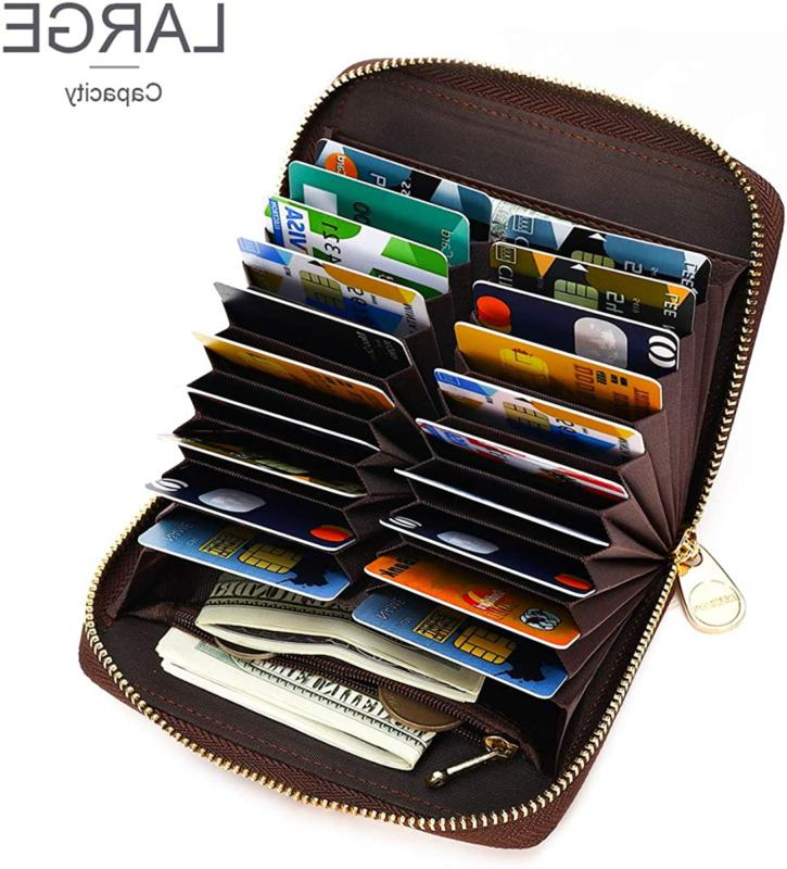 APHISON Womens Credit Card Holder Travel Leather Zipper for