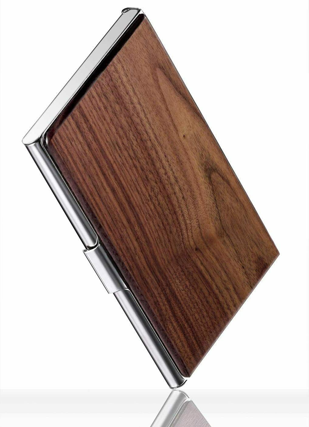 Wood Business Holder Women Slim Name card Pocket Stainless