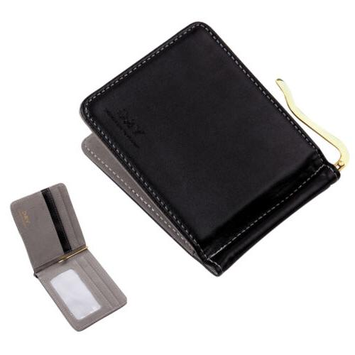 YCA1005 Grey Leather PU Black Mens Gold Money Clip Wallet 5