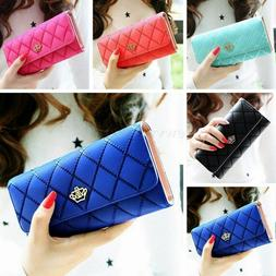 Lady Women Fashion Hasp Wallet Long Purse Clutch Crown Card