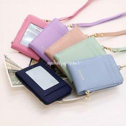 Lanyard ID Holder Wallet Badge Neck Strap Leather Pass Credi