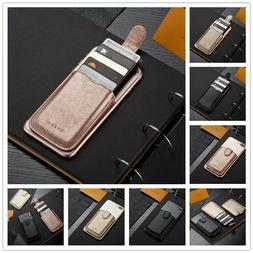 Leather Adhesive Sticker Pouch Credit Card Holder Pocket Sle