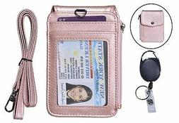 leather badge holder with lanyard id card