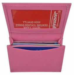 Leather Credit Card & ID Holder Slim Design Pink Men's Walle